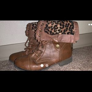 Brown leather boots (small tear)